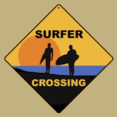 Surfer Crossing Road Sign From Sarah J Home Decor. Made From Aluminium  $19.95
