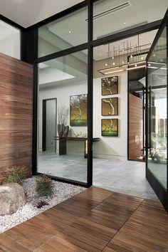 A Vision for Modern Life Modern Entrance Door, Modern Entryway, House Entrance, Main Entrance, Modern Glass House, Glass House Design, Foyer Design, Modern Mansion, Dream Home Design