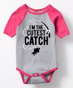 $11.99 marked down from $24! Gray & Raspberry 'I'm the Cutest Catch' Bodysuit - Infant #infant #fishing #baby