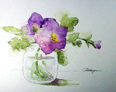 Acuarela flores púrpura grabado en vidrio tarro por RoseAnnHayes