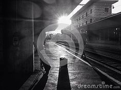 Young man waiting the train