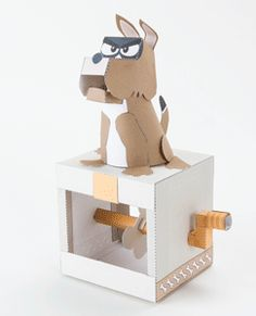 Turn the handle on the paper animated Guard Dog and he barks ferociously warning you [. Calliope Mini, Diy For Kids, Crafts For Kids, Fun Crafts, Diy And Crafts, Paper Models, Wood Toys, Origami Paper, Paper Toys