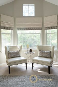 love the roman shades with the Mary McDonald trim. choose an inexpensive linen-like fabric from a local fabric store & splurged on the Ma...