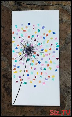 colorful fingerprint art for kids - Mother's day gift idea with a dollar store canvas Fun Crafts, Arts And Crafts, Paper Crafts, Kids Paint Crafts, Class Art Projects, Preschool Auction Projects, Art Auction Projects, Collaborative Art Projects, Lathe Projects