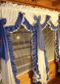 ruffledcurtains Ruffle Shower Curtains, Drapes Curtains, Priscilla Curtains, Blue Couch Living Room, Country Style Curtains, Primitive Curtains, Den Decor, Lampshade Designs, English Decor