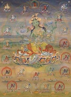 Tibetan Buddhist Thangka of The 21 Taras (Green Tara in the center) ~ Om Tare Tutare Ture Soha