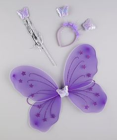 Tulles of Love Purple Glitter Wing Set by Tulles of Love #zulily #zulilyfinds