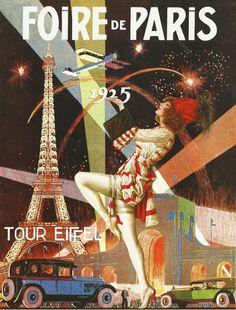 Antique French advertising print - Paris Eiffel Tower Art Deco Foire de Paris 20s... via Etsy.