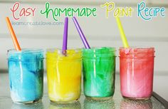 Easy Homemade Paint Recipe: 1 Cup of Water 1 Cup of Liquid Dish Soap 1 Cup of All Purpose Flour Food Coloring