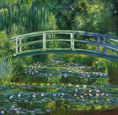 The Water-Lily Pond 1899 - Claude Monet hand-painted oil painting replica,Green Harmony,Japanese-style wood bridge,exotic,domestic plantings Paintings Famous, Monet Paintings, Impressionist Paintings, Post Impressionism Art, Famous Artwork, Indian Paintings, Famous Artists, Bridge Painting, Monet Water Lilies