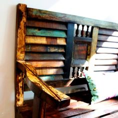 Dishfunctional Designs: Upcycled: New Ways With Old Window Shutters Old Window Shutters, Plastic Shutters, Diy Shutters, Interior Shutters, Wooden Shutters, Bedroom Shutters, Kitchen Shutters, Old Window Projects, Wedding