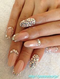 Rhinestone stiletto nails