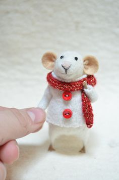 Cute Little White Winter Mouse, Felt Doll Art.