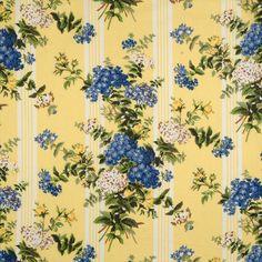Scalamandre Hortensia, yellow and blue wallpaper