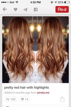 Hair Color Trends 2018 – Highlights - All About Hairstyles Red Hair With Highlights, Red Hair With Balayage, Auburn Balayage, Golden Highlights, Pelo Popular, Pretty Red Hair, Corte Y Color, Hair Color And Cut, Great Hair