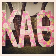 Kappa Alpha Theta letters at the University of Oklahoma! My GBig painted these!!!
