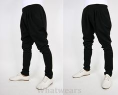 Mens Casual Slim Fit Low-Waisted Harem Pants Breeches 2 Color 4 Size Black S1398 | eBay