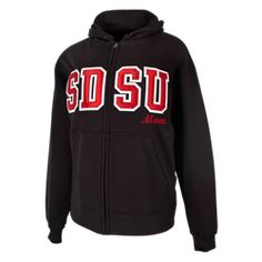 9eff5f958260 SDSU Mom zip featuring a jersey lined hood with draw cord, front pouch  pocket and covered zipper and spandex knit rib. $55