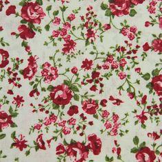 Bavlněná látka Růžičky červené na krémové