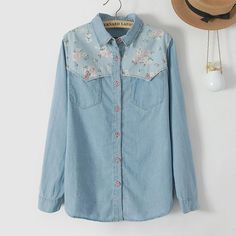 Ladies Sweet Floral printed Spliced Blue Denim Women Shirts Long Sleev – Lifestyleshopee.com