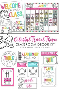 Colorful travel classroom decor pack that will transform your classroom into a Wanderlust's dream! Includes 300  pages of EDITABLE classroom decorations. Classroom jobs, transportation chart, teacher binder covers, table numbers, alphabet posters, number posters, motivational quote posters, and MUCH MORE! #classroomdecor #TravelClassroomTheme #ColorfulClassroom #Classroomideas Classroom Hacks, Classroom Decor Themes, Kindergarten Classroom, Classroom Libraries, Elementary Teacher, Alphabet Posters, Quote Posters, Transportation Chart, Teacher Binder Covers