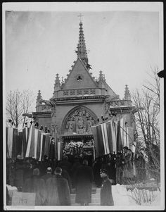 Alva Vanderbilt Belmont, (1853 - 1933). An American Gilded Age socialite, and later in life Alva took an active role in the suffrage movement. Photographed here - Alva's funeral, c.1933, located at Belmont Memorial Chapel, Green-Wood Cemetery in Brooklyn, New York.  ~ Women rights activists wore their suffrage banners, while attending her service, and served as her pallbearers. ~ {cwlyons} ~ (Image/article: Walking off the Big Apple, blog)