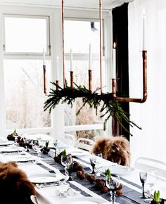 Scandinavian-inspired holiday tablescape