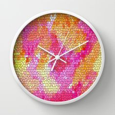 Orange, pink and yellow Watercolor Stained Glass Wall Clock  $30.00   #homedecor