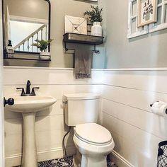 Half Bath Decor, Half Bathroom Decor, Bathroom Goals, Upstairs Bathrooms, Downstairs Bathroom, Bathroom Ideas, Bath Ideas, Master Bathroom, Small Half Bathrooms