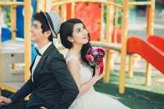 dreamy bride, lively groom