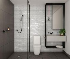 favorite bathroom- black shower screen channel from collins & queen development