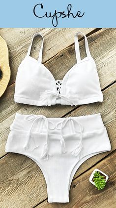 NEW ARRIVAL! Time to plan your next beach trip~ Cupshe Bath In Sunshine High-waisted Bikini Set to you, romantic lace up at front, tie at back and drawstring at bottom design, perfect for a relaxed vacation with family and friends. FREE shipping!