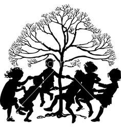 silhouette of children playing free | Silhouette of children playing vector