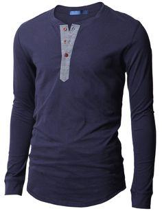 Doublju Mens Casual Long Sleeve Henley Shirt