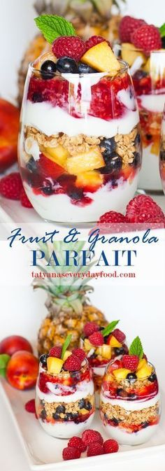 """Looking for a versatile fruit dessert? Look no further! This delicious granola and fruit parfait is made with plain Greek yogurt, raspberry sauce, tons of fresh fruit and crunchy granola! Make these cups to go and take them to work for a light breakfast or mid-day snack. Click on """"HOW-TO"""" below to watch my video recipe!"""