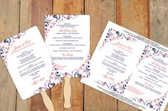 Wedding Fan Program Template - Download Instantly - EDIT YOUR TEXT - Chic Bouquet (Navy & Coral) 5 x 7 - Microsoft Word Format on Etsy, $8.00