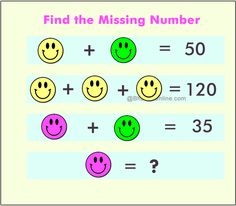 Fun WIth Maths: Find the Missing Number in The Picture – Smiley Version - BhaviniOnline.com