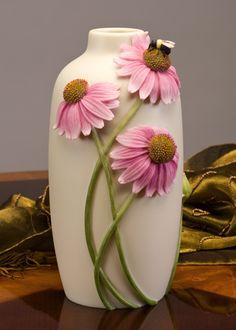 Coneflower and Bee Vase