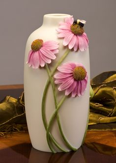 Coneflower and Bee Vase