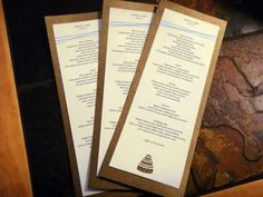 Half Sheet Menu Cards with craft punch detail | Weddingbee DIY Projects