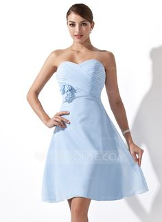 Empire Sweetheart Knee-Length Chiffon Bridesmaid Dress With Ruffle Flower(s) (007000932) - JJsHouse