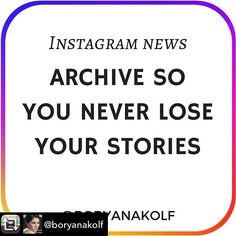 Repost from @boryanakolf Instagram is rolling a new feature called Archive. IG Stories will now automatically Archive your Stories to a private part of your profile when they disappear 24 hours after being posted. . You'll then be able to create Stories Highlights, which are named Collections of your past Stories that show up in a new horizontal bar across the top of your profile (scroll the photo on my post). . How this can help your business: ~ It saves you valuable time - All this time… New Instagram, Instagram Posts, Like You, Let It Be, Private Parts, Old Phone, Story Highlights, Life Savers, Losing You