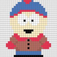 Four South Park Hama, Perler and Cross Stitch Designs. Simple Cross Stitch, Beaded Cross Stitch, Crochet Cross, Cross Stitch Embroidery, Easy Cross, Melty Bead Patterns, Hama Beads Patterns, Beading Patterns, Bracelet Patterns