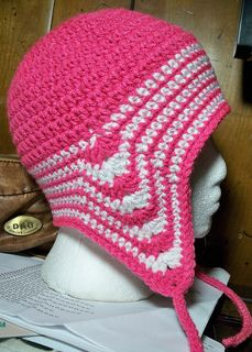 Crochet ear flap hat with longer back.  Don't have to make extra pieces for flaps...
