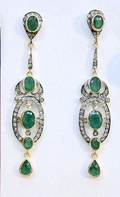 Emerald Earrings Victorian diamond emerald gold silver pair of earrings by Amrapali Emerald Earrings, Emerald Jewelry, Silver Earrings, Pendant Earrings, Emerald Gemstone, Crystal Earrings, Emerald Green, Statement Earrings, Blue Sapphire