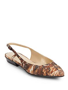 4b2c03af8533 Stuart Weitzman Slingo Abstract-Print Leather Flats l Brown