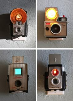 old cameras from the 50's & 60's into nightlights.