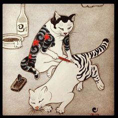 猫の彫師。かわいい♪ via: http://tattoosforpassionnotfashion.tumblr.com/post/28723740586/done-by-horitomo…