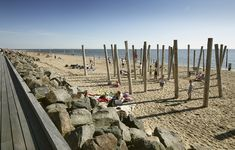Built by Spektrum Arkitekter in Hjerting, Denmark with date Images by Asger Simonsen. The promenade Promenade's boardwalk returns the beach to Hjerting. A beach that had always been separated by a low r. Urban Furniture, North Sea, Legoland, Sailing, Coastal, Deck, Ocean, Exterior, Gallery