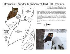 Eastern Screech Owl Felt Ornament Pattern Pic, Bird Stuffed Animal Pattern, How to Make a Toy Animal Plushie Tutorial Plushies Tutorial , BIRDS Diy Projects, Sewing Template , animals, plush, soft, plush, toy, pattern, template, sewing, diy , crafts, kawaii, cute, sew, pattern,free bird template, free pdf handmade felt bird owl